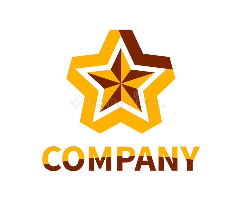 Star ribbon logo 3. Shinny star shape from orange and brown color ribbon logo design idea concept illustration for modern company concept royalty free illustration