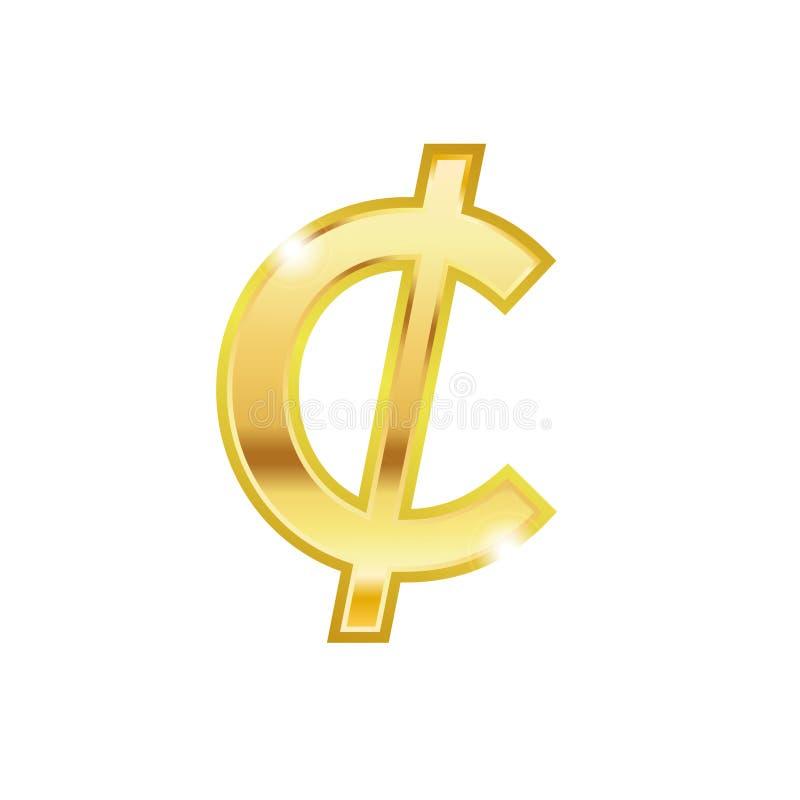 Shinny symbolen för vektorn för stil 3d för den guld- cent den moderiktiga Guld- centvalutatecken Design för vektor för symbol fö stock illustrationer