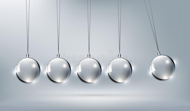 Shinny Szklanych newtony kołysankowych dla projekta elementu, wektorowa ilustracja ilustracji