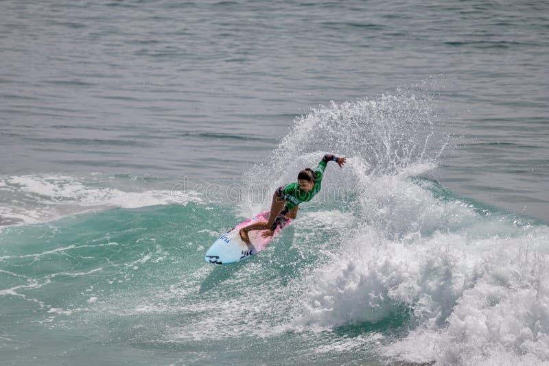 Shino Matsuda surfing w samochodów dostawczych us open surfing 2019 obrazy royalty free