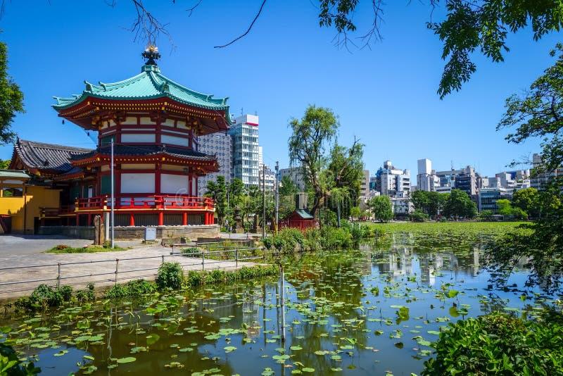 Shinobazu pond and Benten Hall Temple, Ueno, Tokyo, Japan stock photo