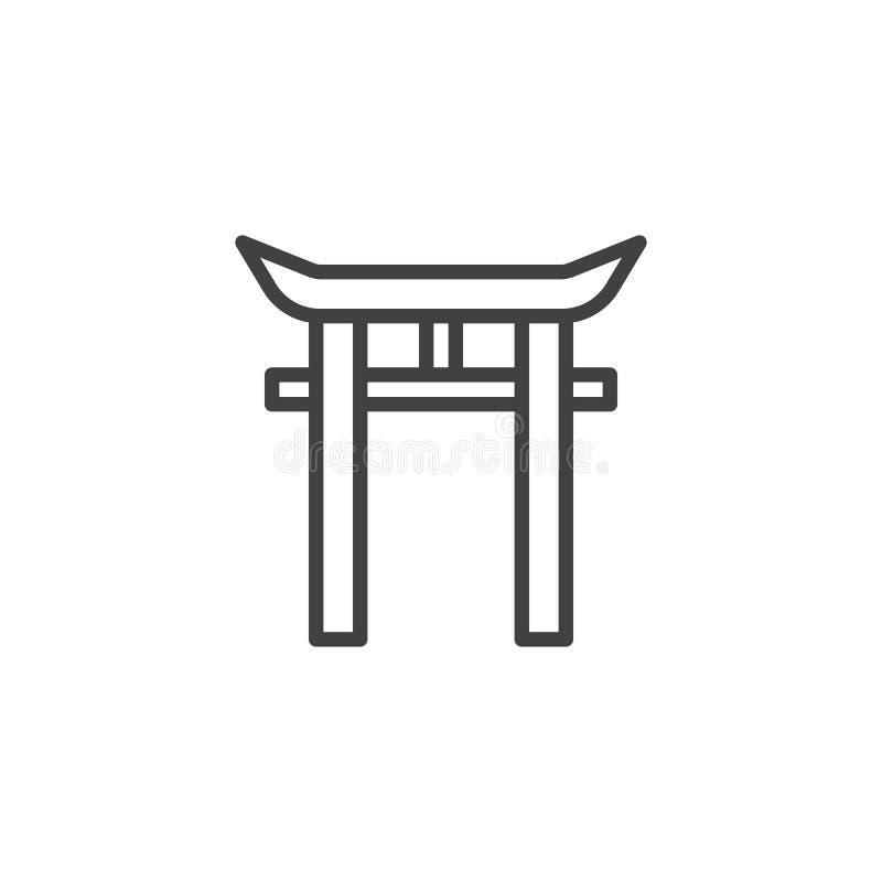 Shinto Shrine Outline Icon Stock Vector Illustration Of Gate
