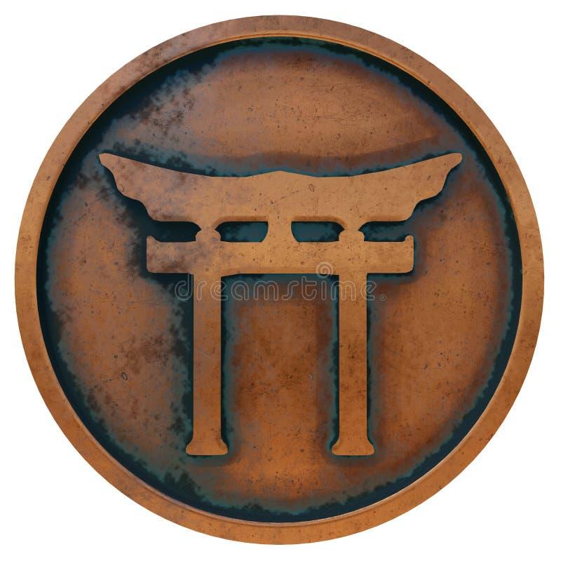 Shintosymbool op het muntstuk van het kopermetaal royalty-vrije stock foto