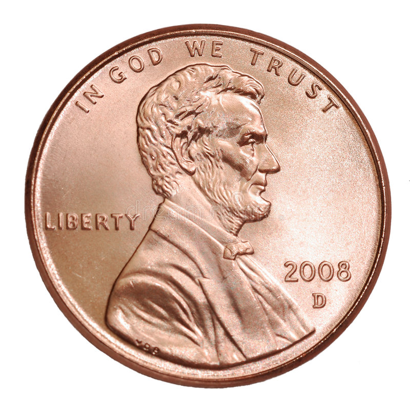 Shiny 2008 Lincoln Penny royalty free stock photo