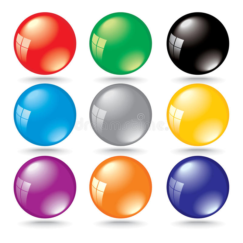 Shiny 3d Color Bubbles With Window Reflection Royalty Free Stock Image