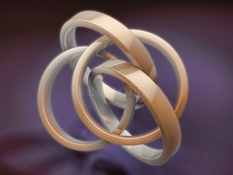 Shiny 3d metal rings royalty free illustration