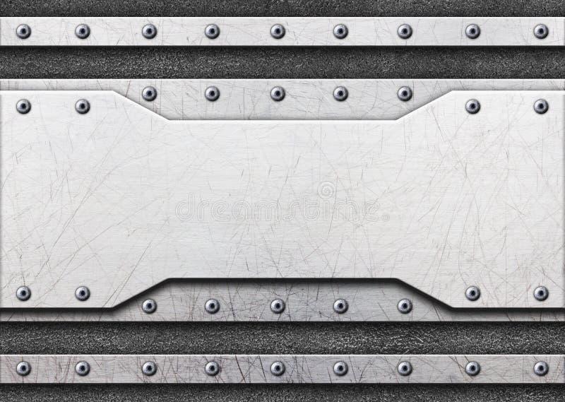 Steel metal plates on black brushed background stock image