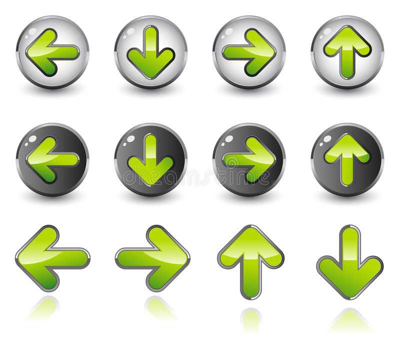 Shiny arrow icons stock illustration