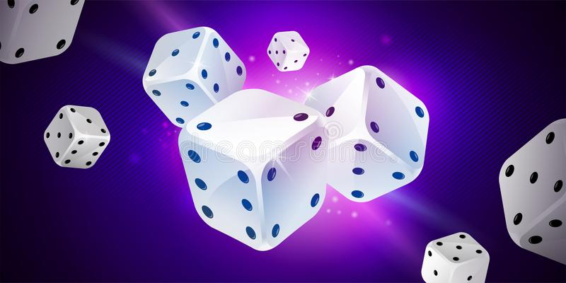Background with white game dices. Table craps stock illustration