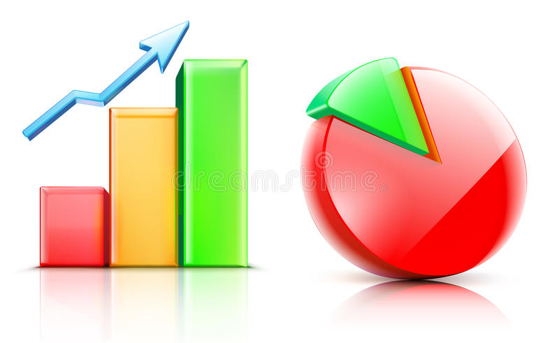 Shiny bar and pie chart. Vector illustration of shiny bar and pie chart vector illustration