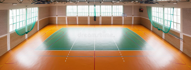 Shiny basketball gym stock photo