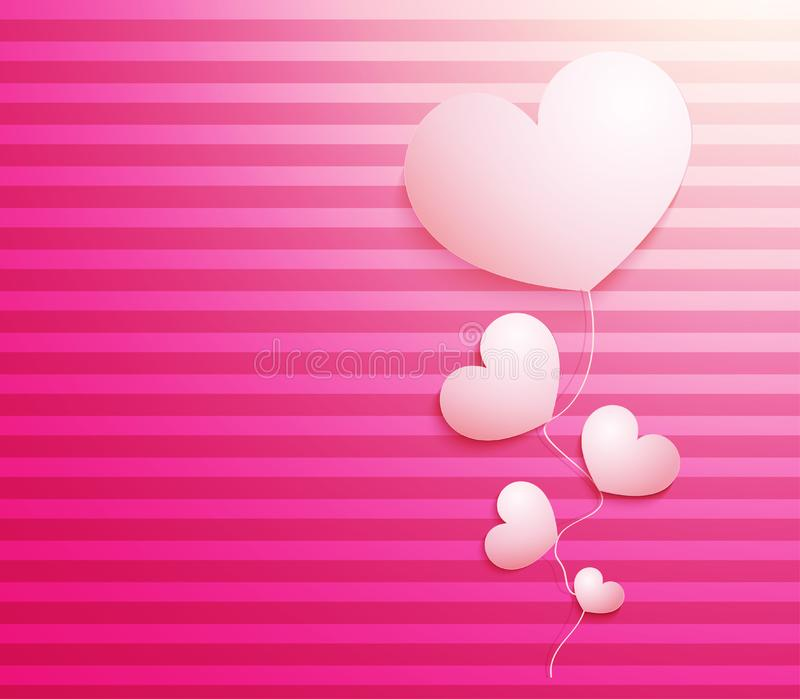 Shiny beautiful background with 3d heart. Soft backdrop for Valentines Day design royalty free illustration