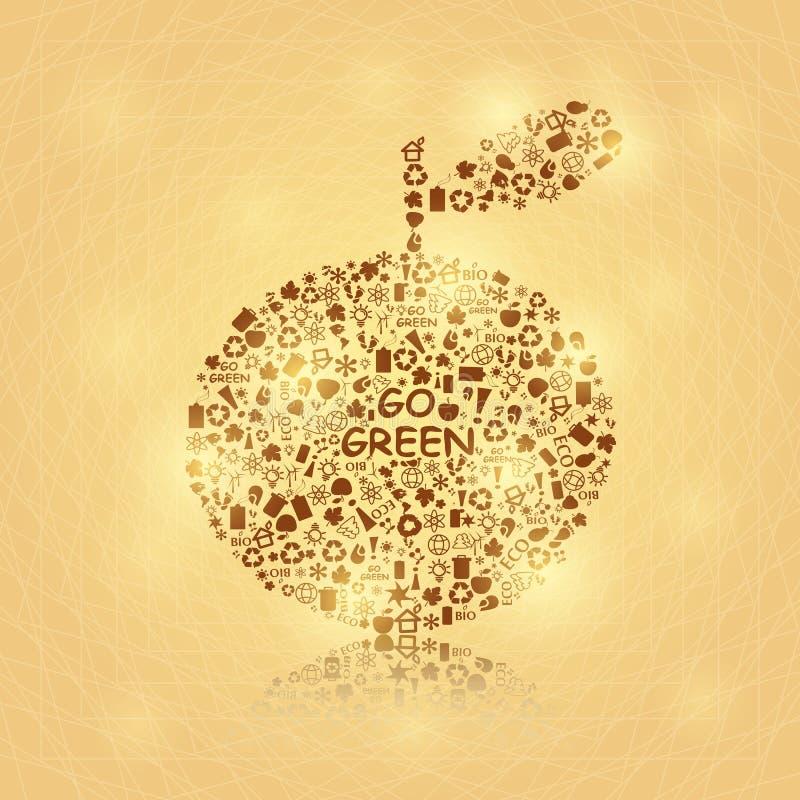 Shiny Big Brown Apple on Yellow Background stock illustration