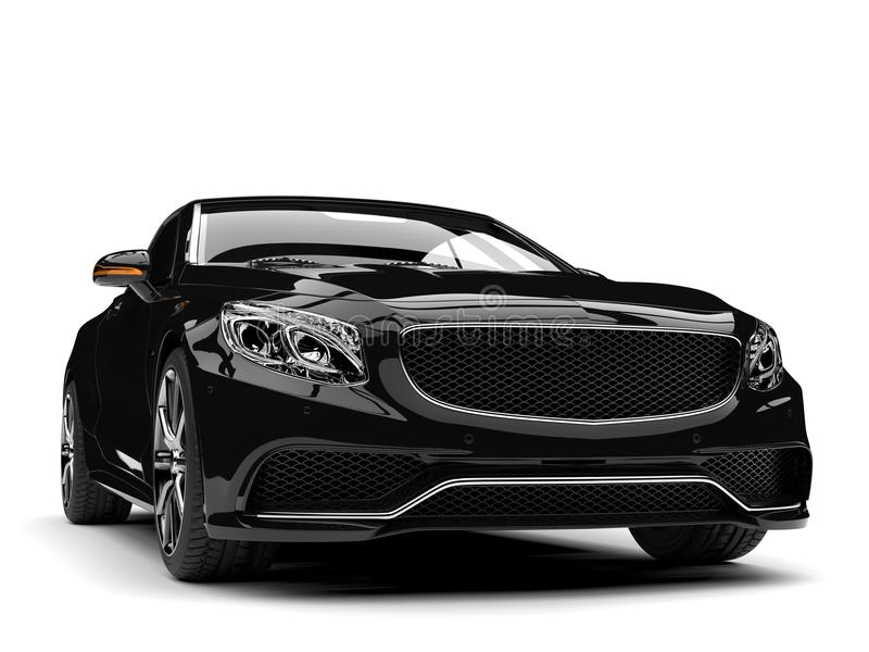 Shiny black modern luxury convertible car - front view closeup shot. Isolated on white background stock illustration