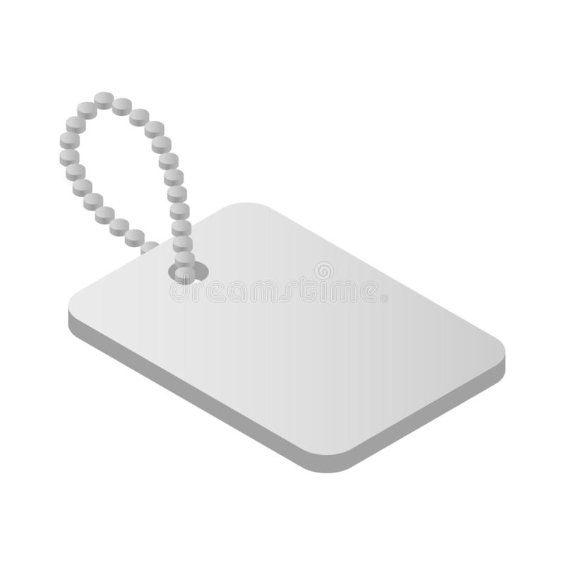 Metallic identification plate isometric 3d icon. Shiny blank metallic identification plate isometri 3d icon Military tag isolated on white stock illustration
