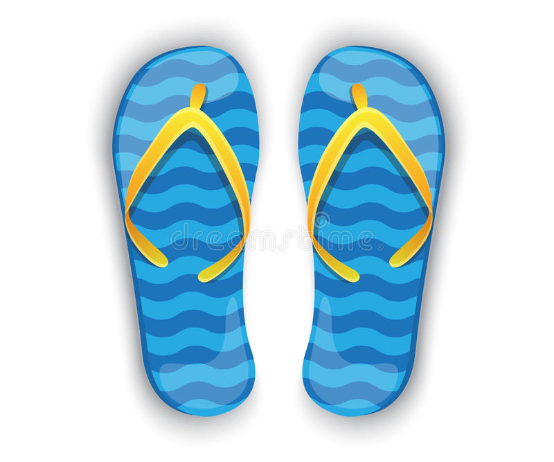Shiny blue flip-flops