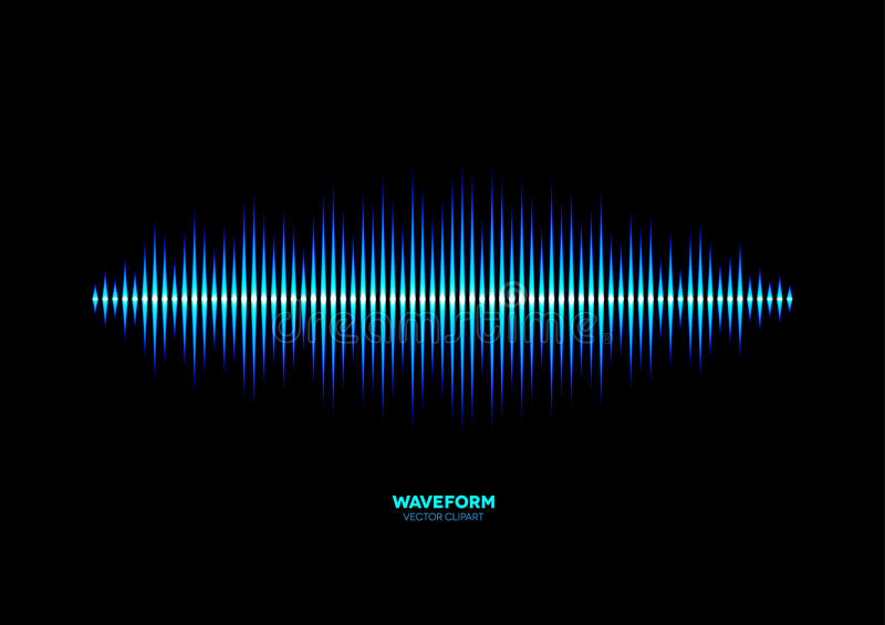 Shiny blue music waveform. Neon shiny blue music or sound waveform stock illustration