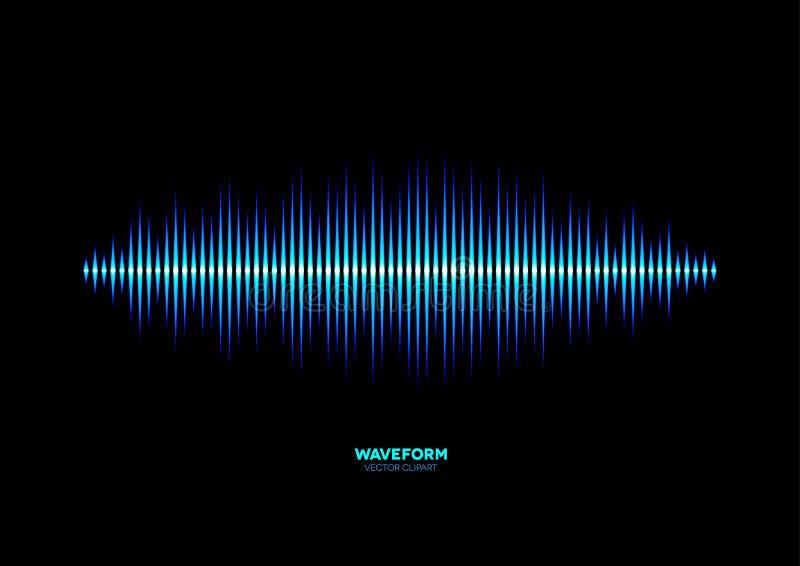Shiny blue music waveform stock illustration