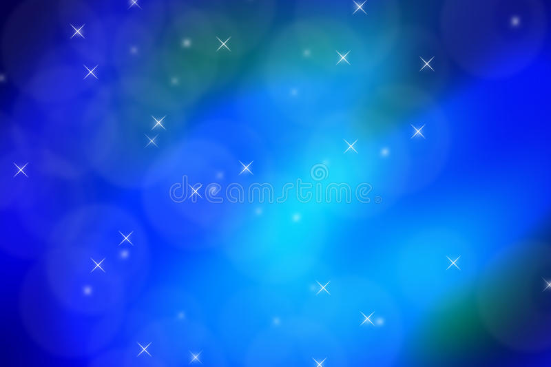 Shiny Blue Page With Stars and Bubbles vector illustration