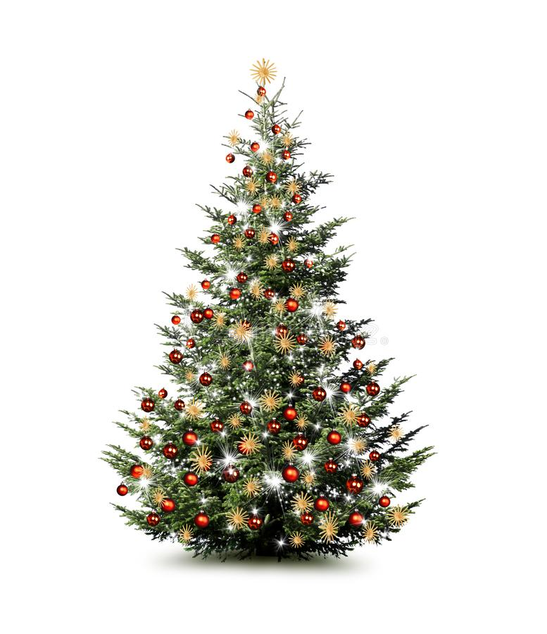 Brightly decorated Christmas tree isolated on white background royalty free stock image