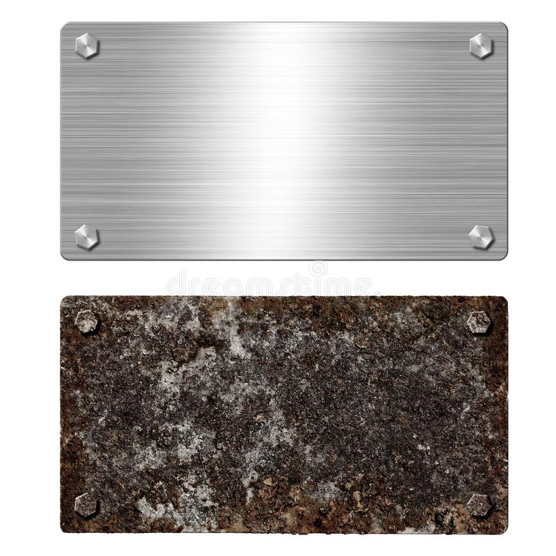 Shiny brushed metal aluminum or steel signboard. Rusty steel plate. Texture and background of polished shiny and rusty metal stock photo