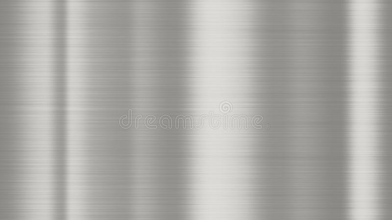 Shiny brushed metal background texture. Polished metallic steel plate sheet metal glossy shiny silver royalty free stock photography