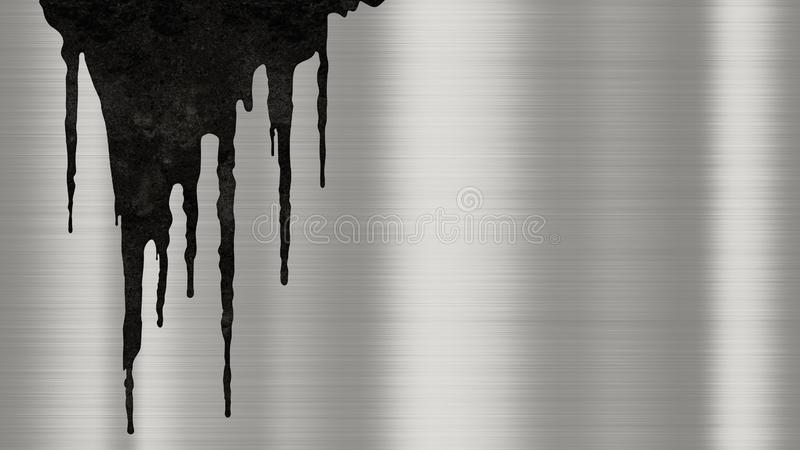 Shiny brushed metal background texture with rusty drips of liquid. Polished metallic steel plate with traces of rust streaks royalty free illustration