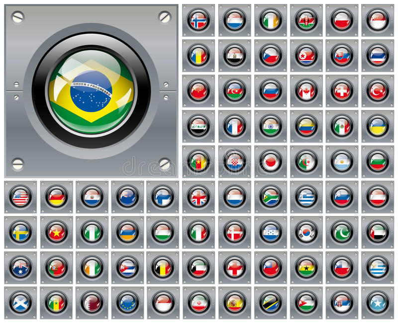 Download Shiny Button Flags With Metal Frame Collection Stock Illustration - Image: 17568044