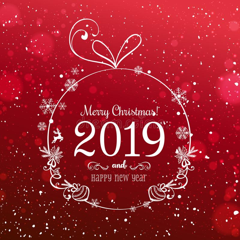 Shiny Christmas ball for Merry Christmas 2019 and New Year on red background with light, stars, snowflakes. Holiday card. Vector eps illustration royalty free illustration