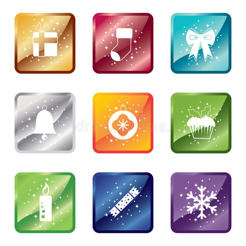 Download Shiny christmas icons stock vector. Illustration of graphic - 17297744