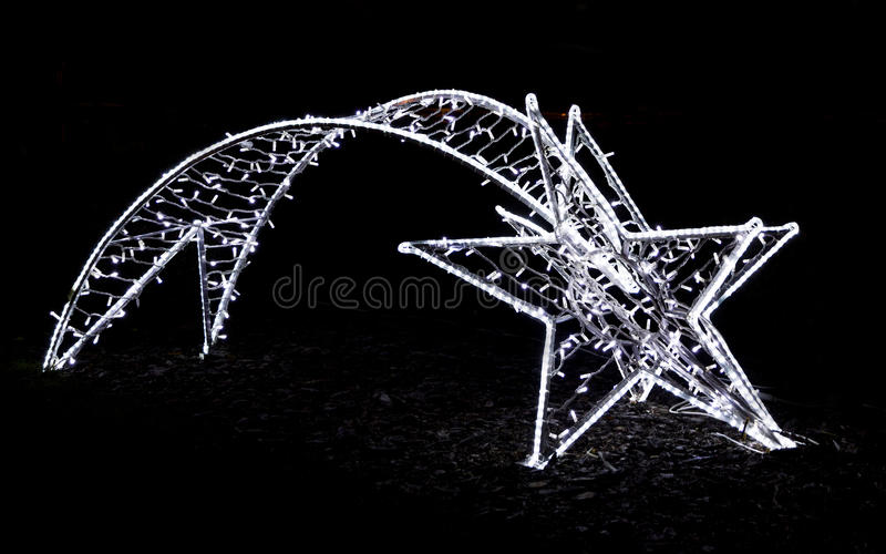 Download Shiny Christmas Street Decoration In The Shape Of A Comet Made O Stock Photo - Image: 36280946