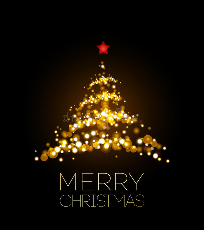 Shiny Christmas tree in black poster royalty free illustration