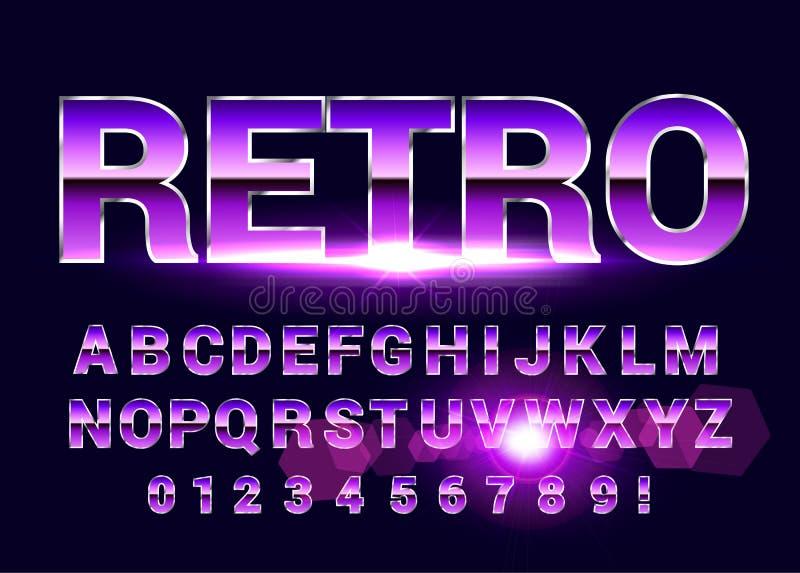 Shiny Chrome alphabet retro font. Sci-fi 80s future style. stock illustration