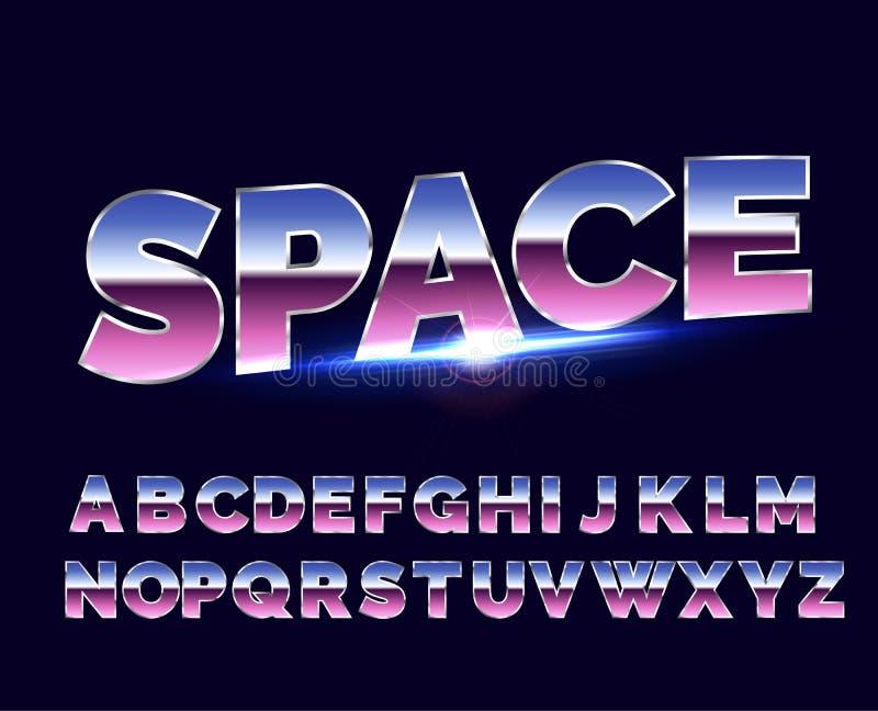 Shiny Chrome alphabet retro font. Sci-fi 80s future style. vector illustration