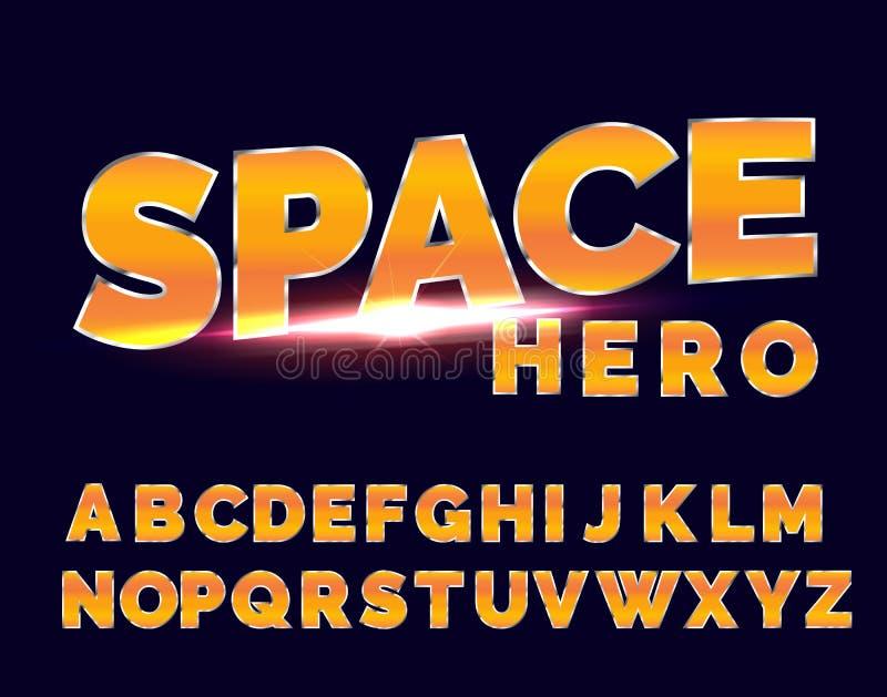Shiny Chrome alphabet retro font. Sci-fi 80s future style. royalty free illustration
