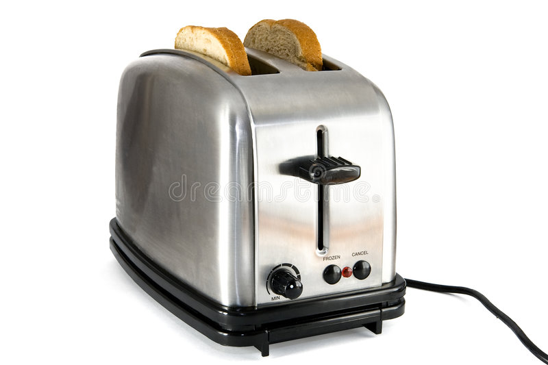 Download Shiny Chrome Toaster With Two Slices Of Bread Stock Image - Image: 4830785