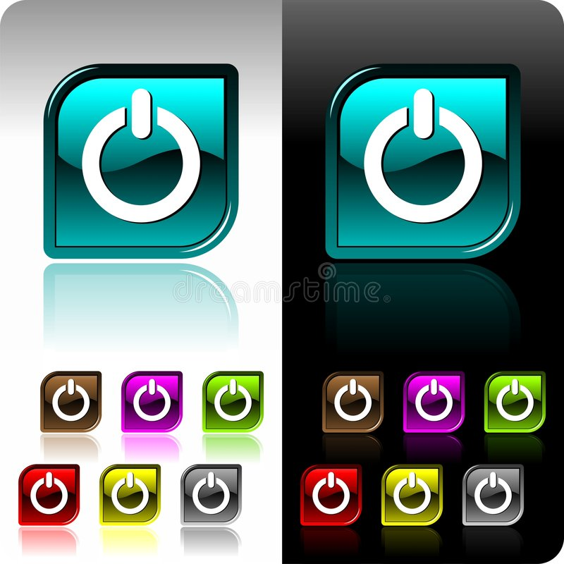 Shiny color button set with seven color variation.  stock illustration