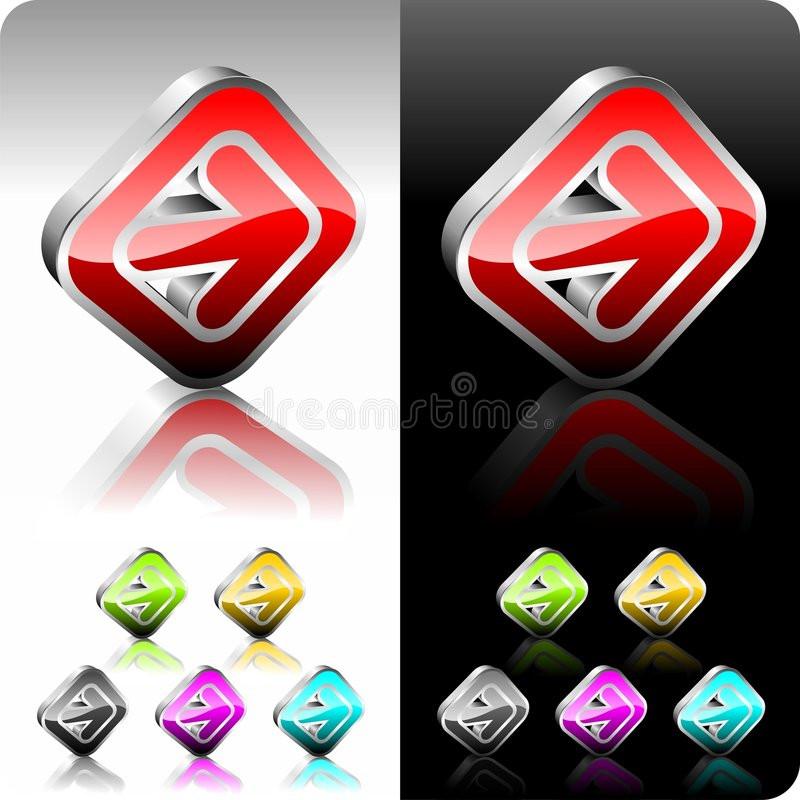 Shiny color right button set. Shiny color button set with six color variation stock illustration