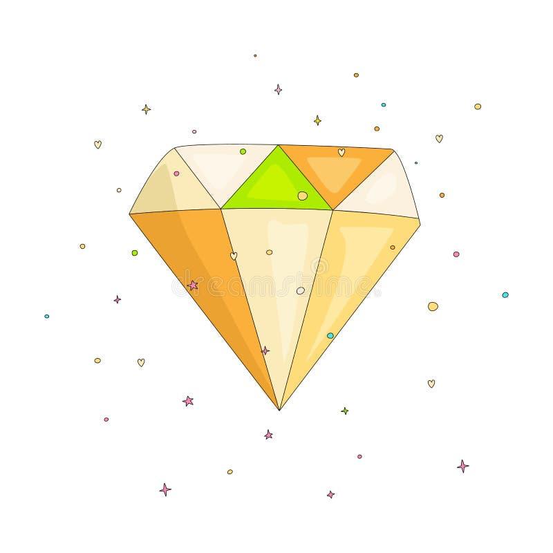 Shiny colored diamond cartoon icon. Diamond icon in cartooning funny style isolated on white. Cartoon brilliant with. Decoration background isolated royalty free illustration