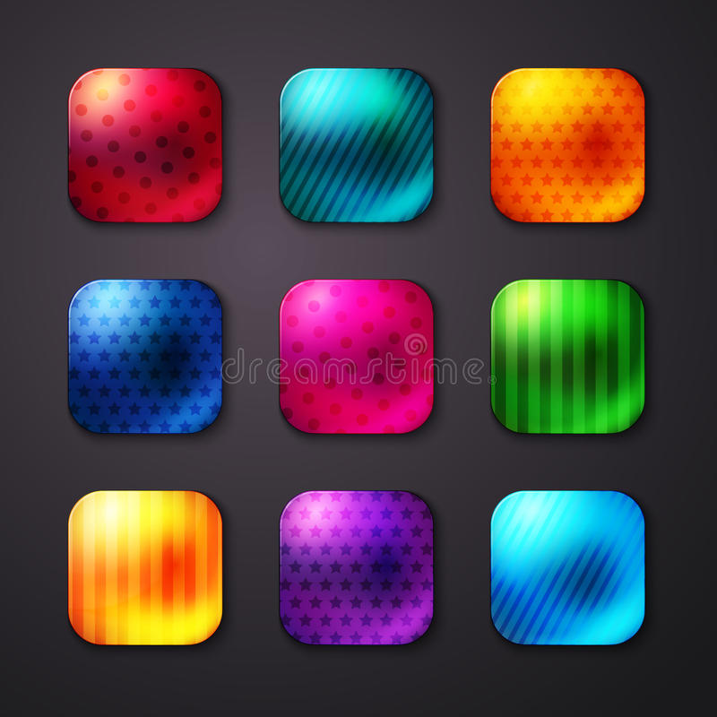 Shiny Colored Square Buttons with Stars and Lines stock illustration