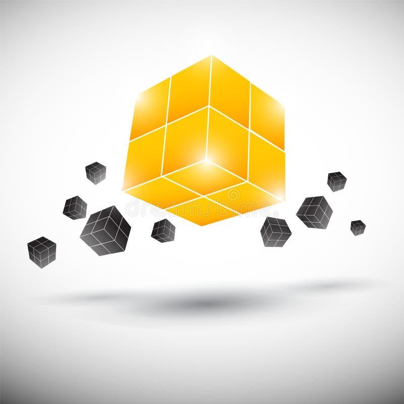 Shiny cube design stock illustration