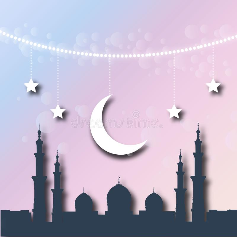 Shiny decorative moon on dream colors bokeh background for Muslim community events. Ramadan kareem greetings. Festive vector illu royalty free illustration