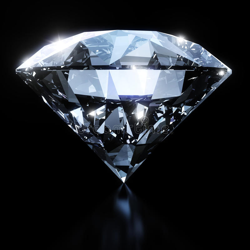 Shiny diamond isolated on black background