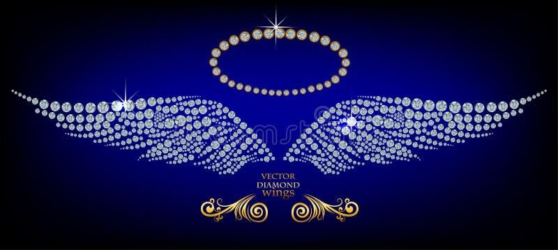 Shiny diamond wings. Shiny diamond angel wings and nimbus stock illustration