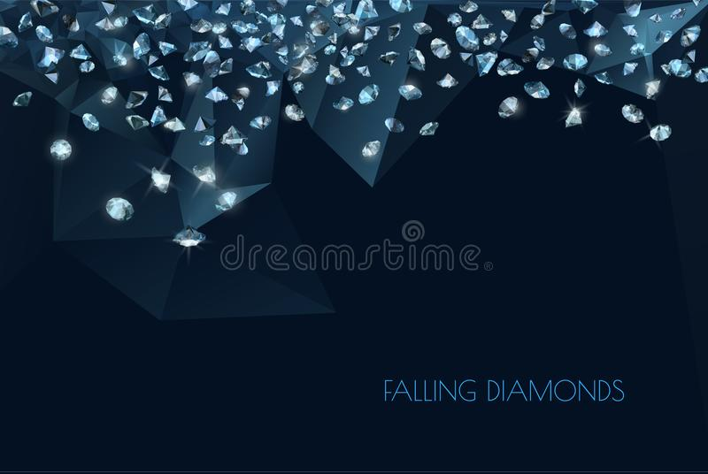 Shiny diamonds background. Abstract background with shiny diamonds scattered over dark blue stock illustration