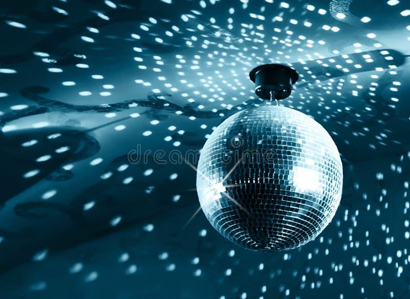 Shiny disco ball. On nightclub