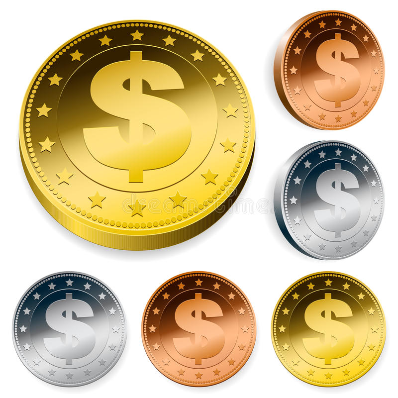 Download Shiny Dollar Currency Token Coins Stock Vector - Image: 20362216