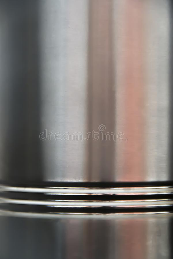 Shiny edge of a stainless steel container royalty free stock photo