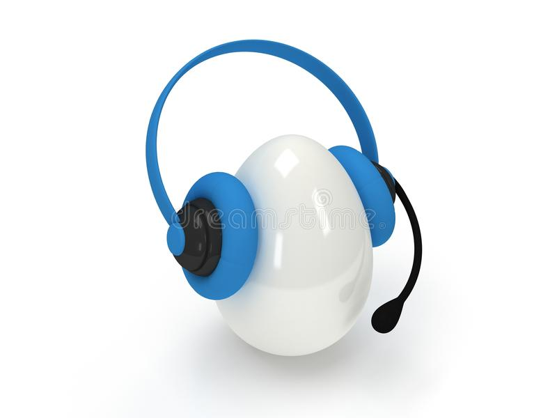 Shiny egg with blue headset over white stock illustration