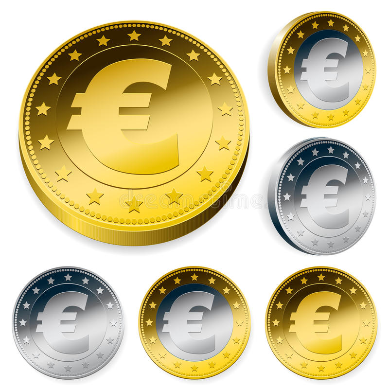 Download Shiny Euro Currency Token Coins Stock Vector - Image: 20362237